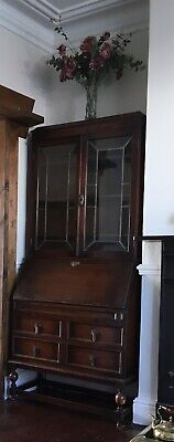 Antique Writing Desk Bureau With Display Cabinet