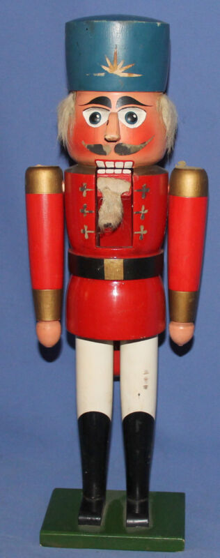 Vintage hand made wood soldier figurine nutcracker