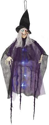 Hexen Hängefigur mit LED Halloween Grusel Deko Accessoires 100 cm