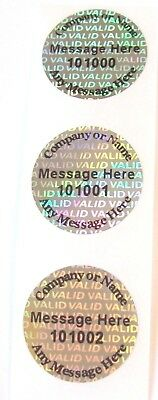 100 Custom Print Valid Hologram Warranty Void Tamper Evident Labels 34 Round