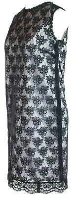 Dolce & Gabbana D G Schwarz Blumenmuster Spitzen-Overlay Kleid Größe S UK 10