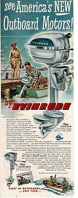 1948 EVINRUDE Sportwin 3hp outboard boat motor art Vintage Print Ad