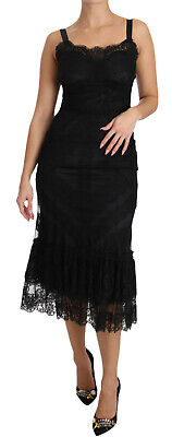 DOLCE & GABBANA Dress Black Floral Lace Shift Gown IT36 / US2 / XS RRP $5200