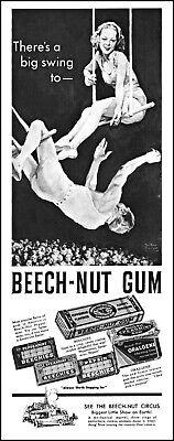 1937 Circus trapeze artists Beech-Nut Gum Beechies vintage art print ad L58
