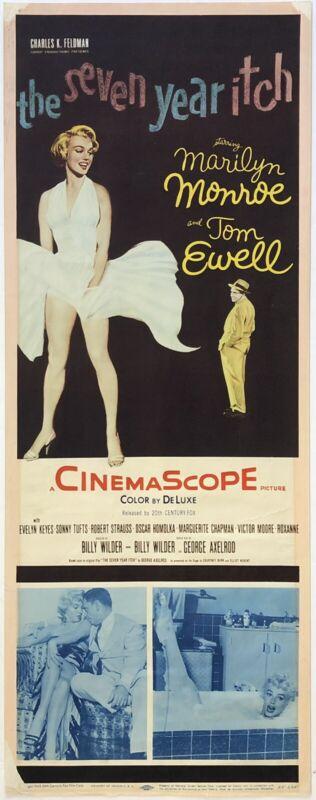 "Original Vintage Movie Poster Insert  SEVEN YEAR ITCH Marilyn Monroe 14"" x 36"""
