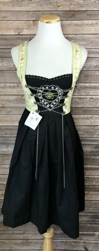 "Dirndl ""Edina"" Trachten Oktoberfest German Bavarian Green Party Dress 32 NWT"
