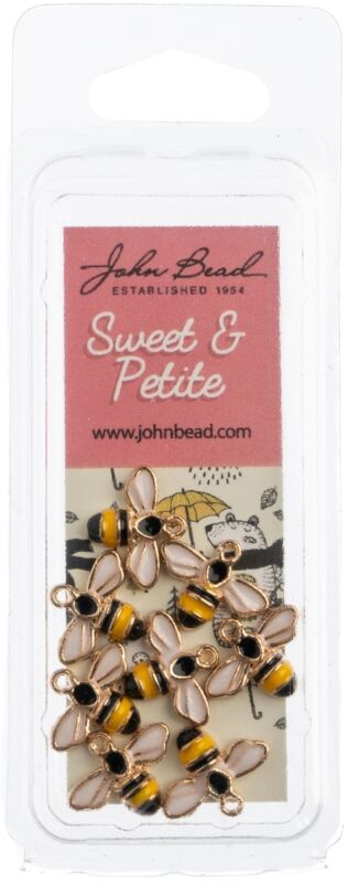Sweet & Petite Charms -Bumble Bee Yellow/Black, 12x15mm 8/Pkg