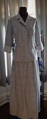 Laura Ashley beautiful vintage printed cotton shirt and matching skirt 12 - 14