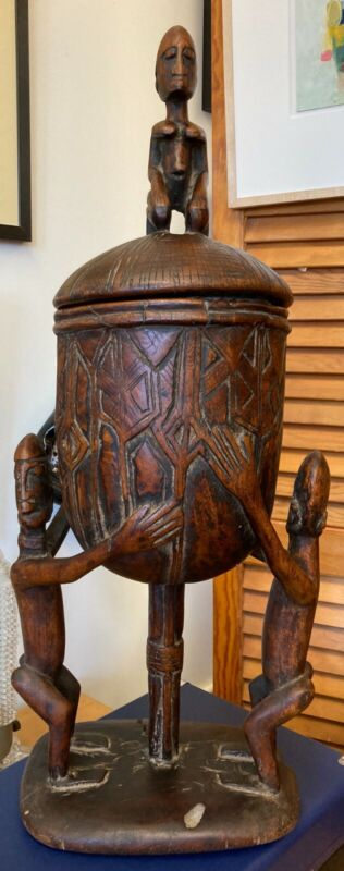 Unique African Hand Carved Dogon Pot