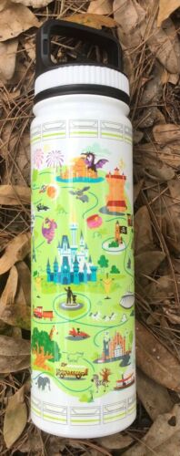 Disney Parks Water Bottle Thermos Stainless Steel 20 oz Disney World Park Map