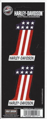 Harley Davidson #1 American Flag Sheet of 2 Decal Sticker