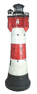 Deko Solar Leuchtturm groß ca. 80 cm rot weiß rotierender LED Reflektor für den