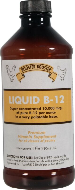 Liquid B-12 Rooster Booster Premium Supplement + Vitamin  K For All Poultry
