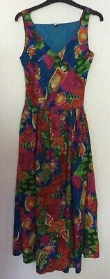vintage 80s tropical fish & flowers Indian cotton wrap bodice gathered dress 10
