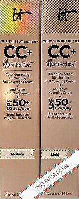 New boxed IT cosmetics CC Cream + Serum 50+ SPF Light Medium 32ml foundation uk