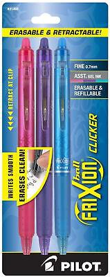 Pilot Frixion Ball Clicker Erasable Gel Ink Pens Fine 0.7mm Retractable Assorted