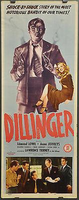 DILLINGER 1945 ORIGINAL 14X36 MOVIE POSTER LAWRENCE TIERNEY EDMUND LOWE