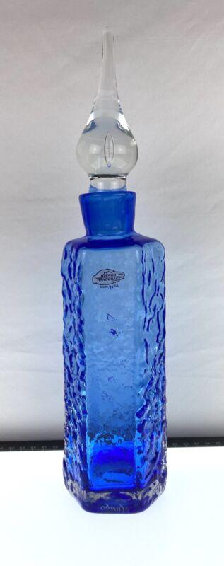 Blenko Textured Decanter in Cased Cobalt Signed Blenko 2019