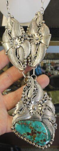 Navajo Sterling Silver Designer Signed AL Turquoise Blossom Necklace