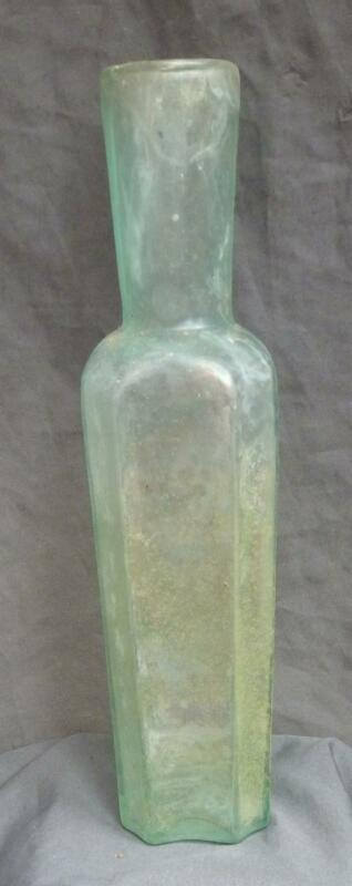 SQUARE TRUFFLES BOTTLE-Tall Indented Panels-Refired Lip-1850-1860