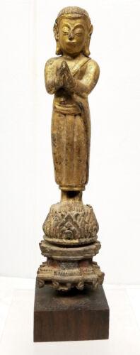 Large Korean Japanese South East Asian Gilt Buddha Standing Figure Polychrome