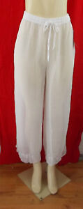 WHITE SHEER  PANTS BEACH CRUISE COVER UP DRAWSTRING ELASTIC WAIST EMBROIDERY 1X