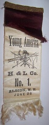 c1910 ANTIQUE YOUNG AMERICA HOOK LADDER ALBION NY FIREMAN CONVENTION RIBBON