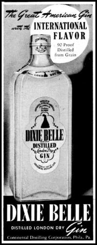 1941 Dixie Belle gin great American distilled bottle vintage art Print Ad  adL47