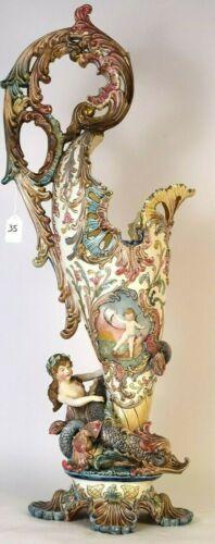Antique Huge EICHWALD Austrian Art Nouveau Majolica Pitcher, XIX C.