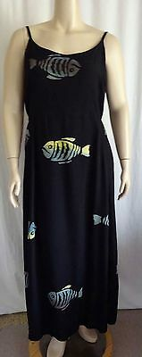 Y26 Black Fish Tank Rayon Dress Batik Sun Dress Lagenlook   Bust: 48-54 1X 2x