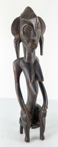 African Carved Wood Seated Maternity Figure Senufo Ivory Coast Cote d