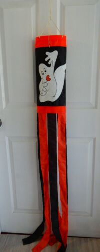 Halloween wind sock ghost flag hanging decoration red, white & black