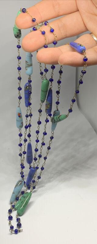 """VINTAGE ART DECO BLUE GLASS BEAD AND ENAMEL Antique Long NECKLACE 58"""""""