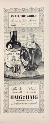Vintage 1942 Haig & Haig Scotch Five Star And Pinch Print Ad Advertisement