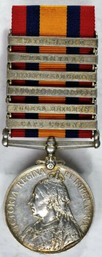 South Africa Victoria Silver Medal w/6 clasps to J.F. SMITH, 7TH BTY. R.F.A