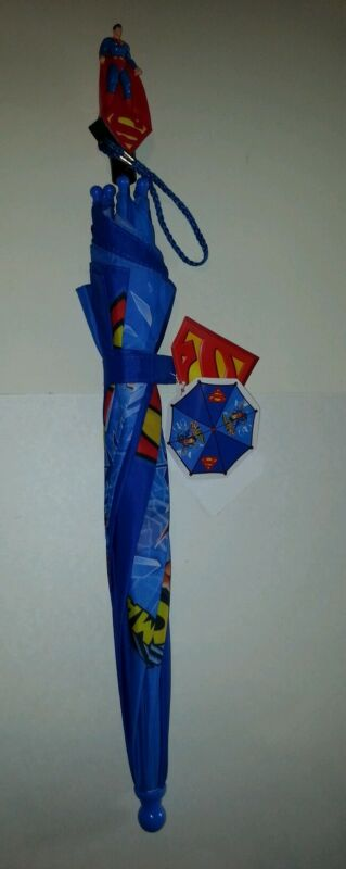 Toddler Boys DC Comics Superman Blue & Red Yellow Umbrella NEW