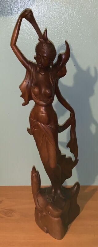 "22"" Carved Wood Oriental Nude Woman Art Statue"