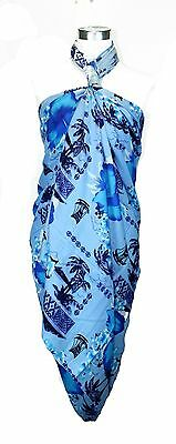 Jumbo Plus Size Tropical Cruise Beach Luau Sarong Wrap Dress Boat Hibiscus Blue