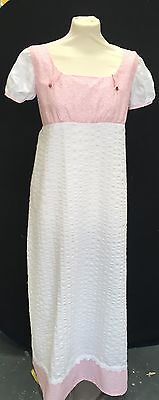 Regency Jane Austen Inspired Pink And White Cotton Day Gown.
