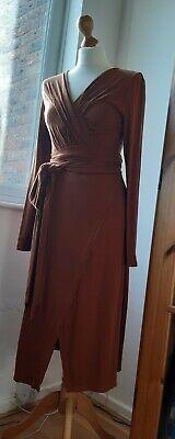 BNWOT | Paisie London brown rust wrap jersey dress | very Issa DvF | sz 10 S XS