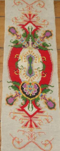 Antique French Hand Made Needlepoint ~ Gorgeous Red Green Lavender Yellow ~