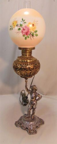 """30"""" Antique Victorian Banquet GWTW Lamp Ornate Silver & Brass ROSES Ball Shade"""