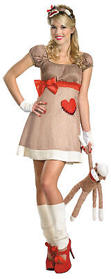 Sock Monkey Halloween Costume (Ms. Sock Monkey Deluxe Adult Womens Costume Animal)