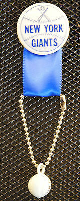 1950's Vintage New York Giants Baseball Pin-back Button Ribbon RARE