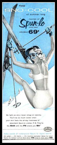 1955 Woman skier in undies Sno-Cool Spun-Lo undies vintage art Print Ad  adL24