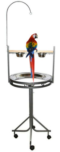 Elegant Parrot Playstand With Perch Stainless Steel Tray Toy Hook Stainless Cup