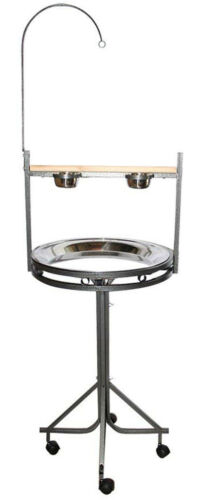"""Large 72"""" Parrot Wood Perch PlayStand With Toy Hook Stainless Steel Tray Bowls"""