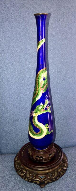"Japanese Ginbari Cloisonné Dragon Vase  12""tall Midnight blue background 1900's"