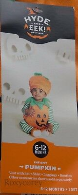 Halloween Pumpkin Jack O Lantern Shirt Legging Hat Booties Costume Size 6-12 Mos