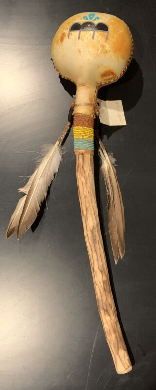 Native American Handmade Rawhide Rattle Shaker Fur Leather Feathers Beads